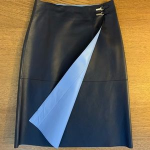 Ralph Lauren collection bicolor navy leather skirt